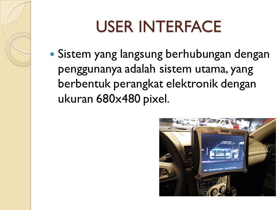 USER INTERFACE  Sistem yang langsung berhubungan dengan penggunanya adalah sistem utama, yang berbentuk perangkat elektronik dengan ukuran 680x480 pi