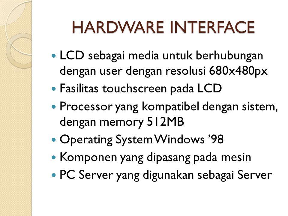 HARDWARE INTERFACE  LCD sebagai media untuk berhubungan dengan user dengan resolusi 680x480px  Fasilitas touchscreen pada LCD  Processor yang kompatibel dengan sistem, dengan memory 512MB  Operating System Windows '98  Komponen yang dipasang pada mesin  PC Server yang digunakan sebagai Server