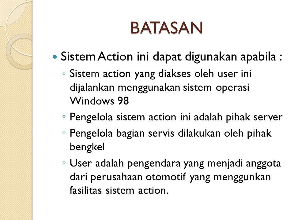 BATASAN  Sistem Action ini dapat digunakan apabila : ◦ Sistem action yang diakses oleh user ini dijalankan menggunakan sistem operasi Windows 98 ◦ Pe