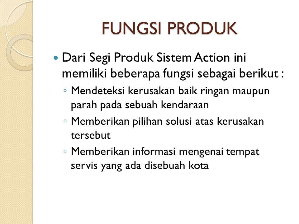 FUNGSI PRODUK  Dari Segi Produk Sistem Action ini memiliki beberapa fungsi sebagai berikut : ◦ Mendeteksi kerusakan baik ringan maupun parah pada seb