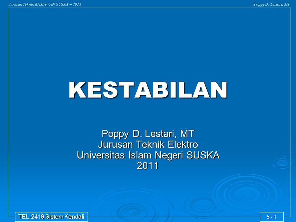 Jurusan Teknik Elektro UIN SUSKA – 2011Poppy D. Lestari, MT TEL-2419 Sistem Kendali 5 - 1 KESTABILAN Poppy D. Lestari, MT Jurusan Teknik Elektro Unive