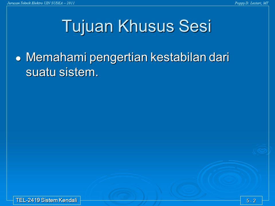 Jurusan Teknik Elektro UIN SUSKA – 2011Poppy D. Lestari, MT TEL-2419 Sistem Kendali 5 - 2  Memahami pengertian kestabilan dari suatu sistem. Tujuan K