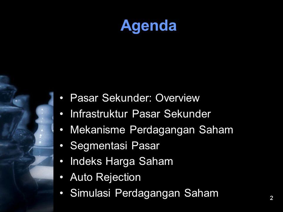 2 Agenda •Pasar Sekunder: Overview •Infrastruktur Pasar Sekunder •Mekanisme Perdagangan Saham •Segmentasi Pasar •Indeks Harga Saham •Auto Rejection •S