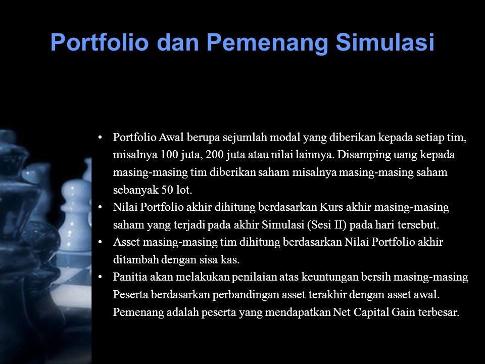 •Portfolio Awal berupa sejumlah modal yang diberikan kepada setiap tim, misalnya 100 juta, 200 juta atau nilai lainnya. Disamping uang kepada masing-m