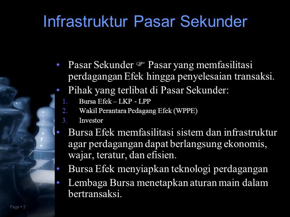 Page  3 •Pasar Sekunder  Pasar yang memfasilitasi perdagangan Efek hingga penyelesaian transaksi. •Pihak yang terlibat di Pasar Sekunder:  Bursa E