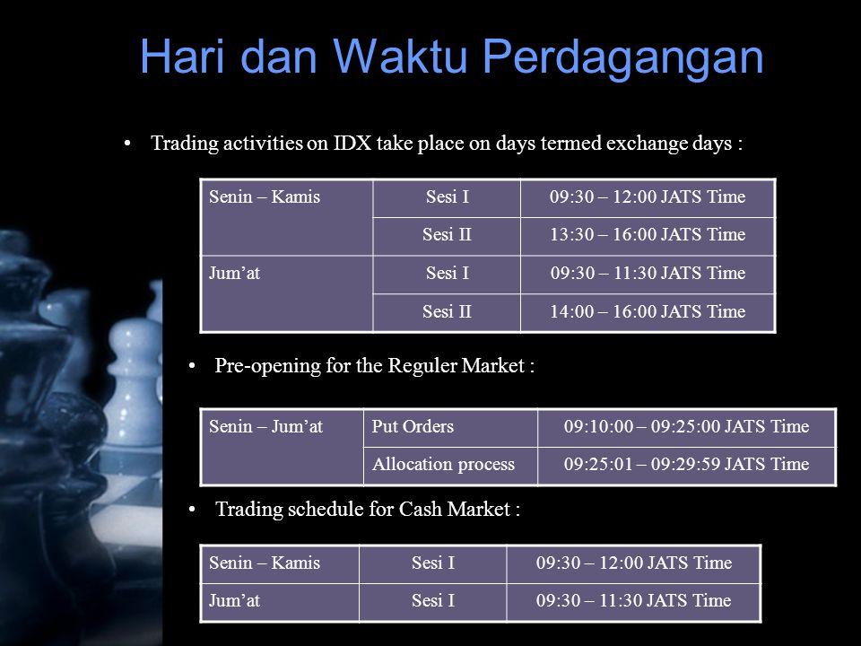 •Trading activities on IDX take place on days termed exchange days : Senin – KamisSesi I09:30 – 12:00 JATS Time Sesi II13:30 – 16:00 JATS Time Jum'atS