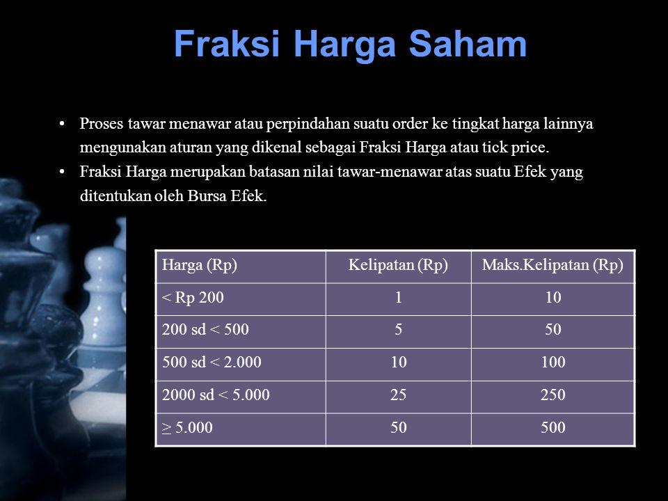 •Proses tawar menawar atau perpindahan suatu order ke tingkat harga lainnya mengunakan aturan yang dikenal sebagai Fraksi Harga atau tick price. •Frak