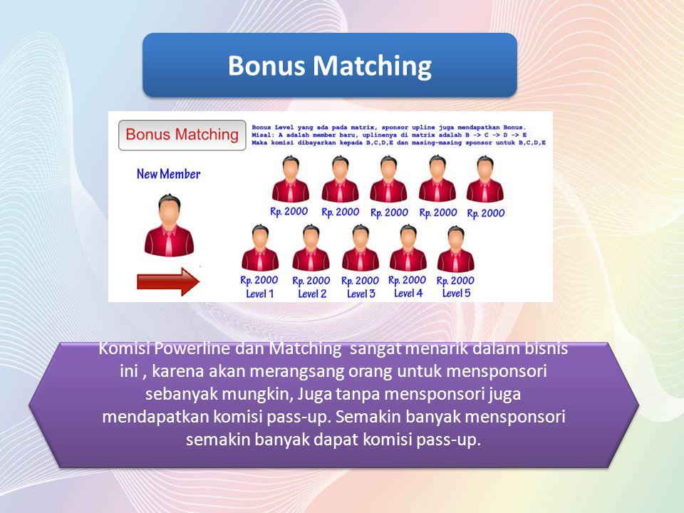 Komisi Powerline dan Matching sangat menarik dalam bisnis ini, karena akan merangsang orang untuk mensponsori sebanyak mungkin, Juga tanpa mensponsori