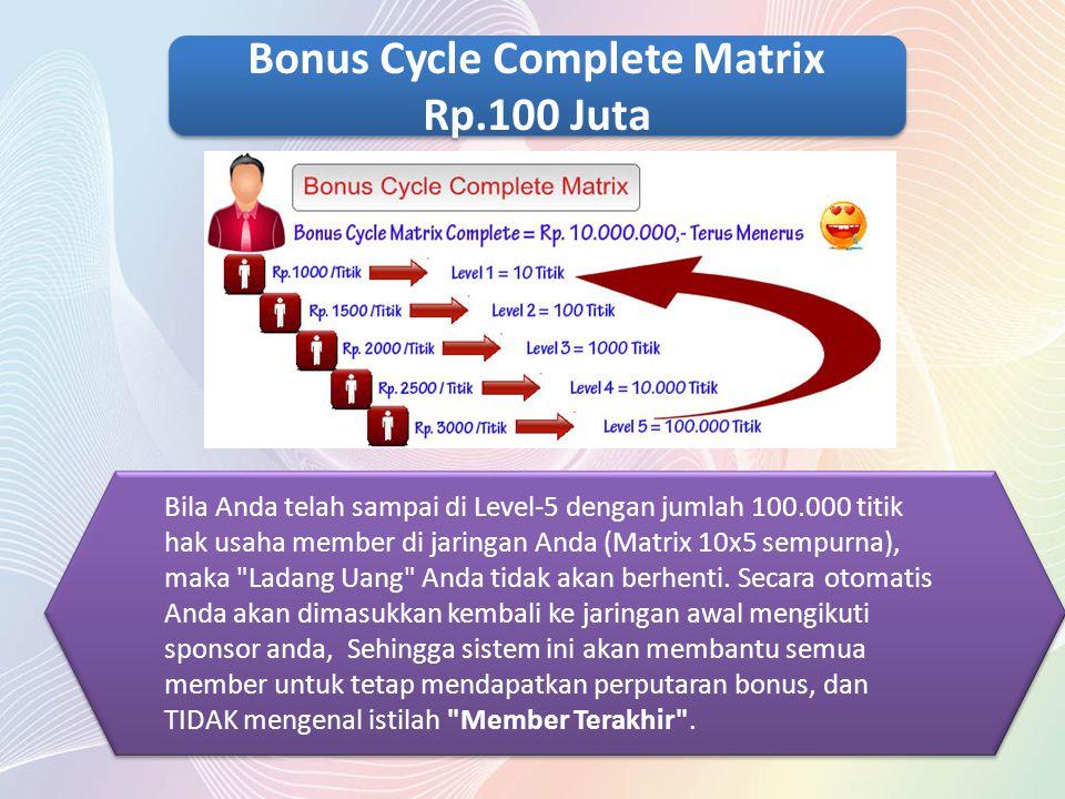 Bila Anda telah sampai di Level-5 dengan jumlah 100.000 titik hak usaha member di jaringan Anda (Matrix 10x5 sempurna), maka