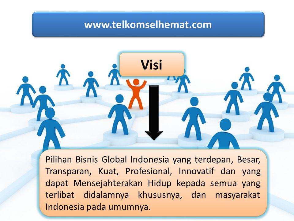 www.telkomselhemat.com www.telkomselhemat.com Visi Pilihan Bisnis Global Indonesia yang terdepan, Besar, Transparan, Kuat, Profesional, Innovatif dan