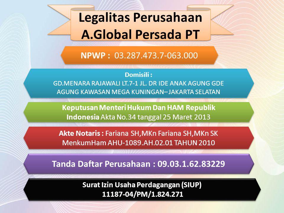 Legalitas Perusahaan A.Global Persada PT Legalitas Perusahaan A.Global Persada PT NPWP : 03.287.473.7-063.000 Domisili : GD.MENARA RAJAWALI LT.7-1 JL.