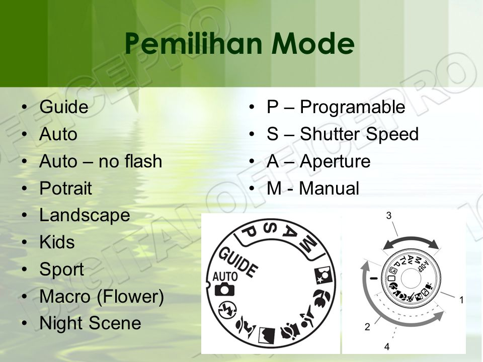 Pemilihan Mode •Guide •Auto •Auto – no flash •Potrait •Landscape •Kids •Sport •Macro (Flower) •Night Scene •P – Programable •S – Shutter Speed •A – Aperture •M - Manual
