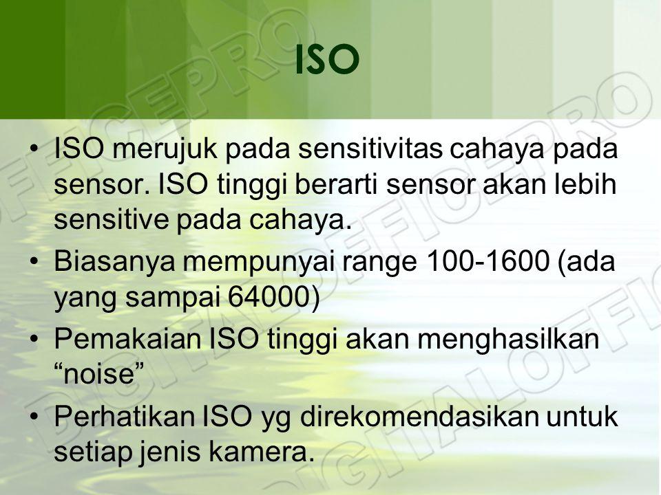 ISO •ISO merujuk pada sensitivitas cahaya pada sensor.