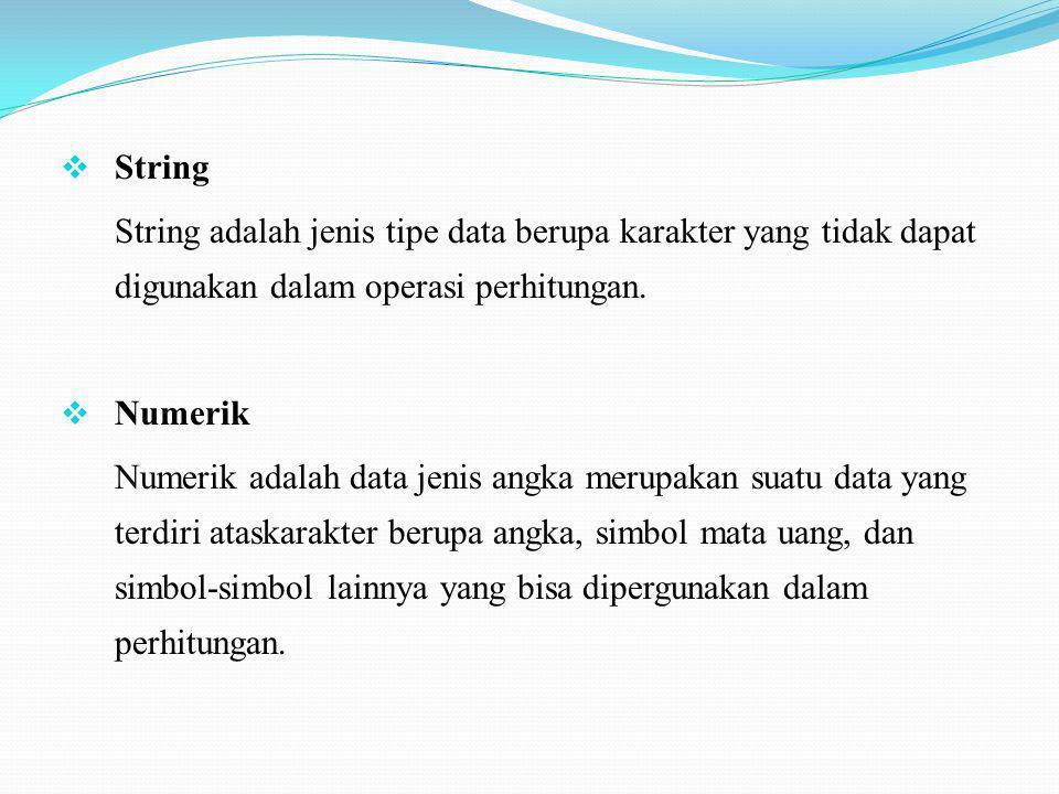  String String adalah jenis tipe data berupa karakter yang tidak dapat digunakan dalam operasi perhitungan.  Numerik Numerik adalah data jenis angka
