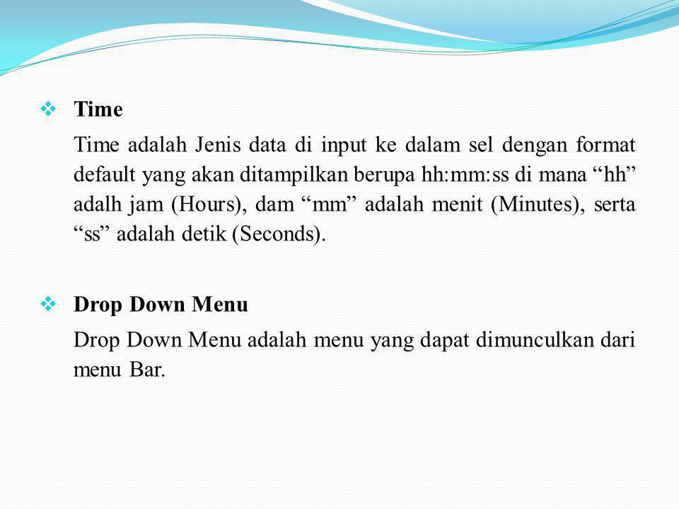 """ Time Time adalah Jenis data di input ke dalam sel dengan format default yang akan ditampilkan berupa hh:mm:ss di mana """"hh"""" adalh jam (Hours), dam """"m"""