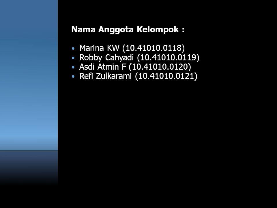 Nama Anggota Kelompok :  Marina KW (10.41010.0118)  Robby Cahyadi (10.41010.0119)  Asdi Atmin F (10.41010.0120)  Refi Zulkarami (10.41010.0121)