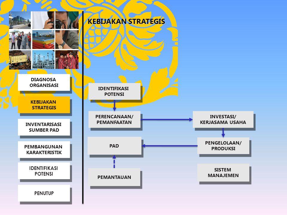 KEBIJAKAN STRATEGIS PERENCANAAN/ PEMANFAATAN PERENCANAAN/ PEMANFAATAN INVESTASI/ KERJASAMA USAHA INVESTASI/ KERJASAMA USAHA PENGELOLAAN/ PRODUKSI PENGELOLAAN/ PRODUKSI PAD IDENTIFIKASI POTENSI IDENTIFIKASI POTENSI PEMANTAUAN SISTEM MANAJEMEN SISTEM MANAJEMEN INVENTARISASI SUMBER PAD INVENTARISASI SUMBER PAD KEBIJAKAN STRATEGIS KEBIJAKAN STRATEGIS PEMBANGUNAN KARAKTERISTIK PEMBANGUNAN KARAKTERISTIK IDENTIFIKASI POTENSI IDENTIFIKASI POTENSI DIAGNOSA ORGANISASI DIAGNOSA ORGANISASI PENUTUP
