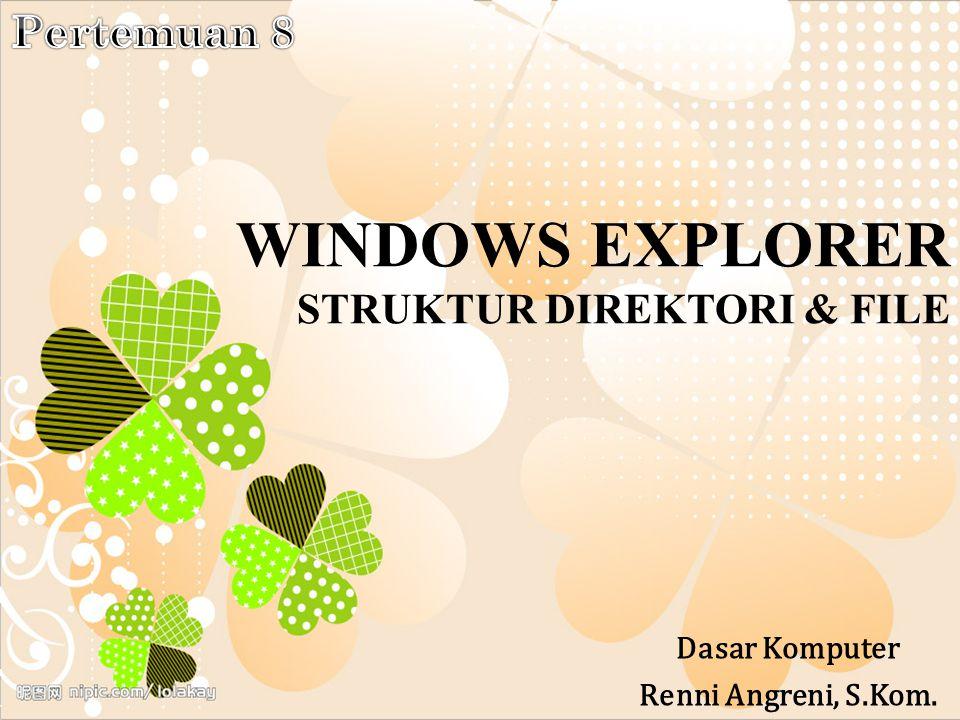 WINDOWS EXPLORER STRUKTUR DIREKTORI & FILE Dasar Komputer Renni Angreni, S.Kom.