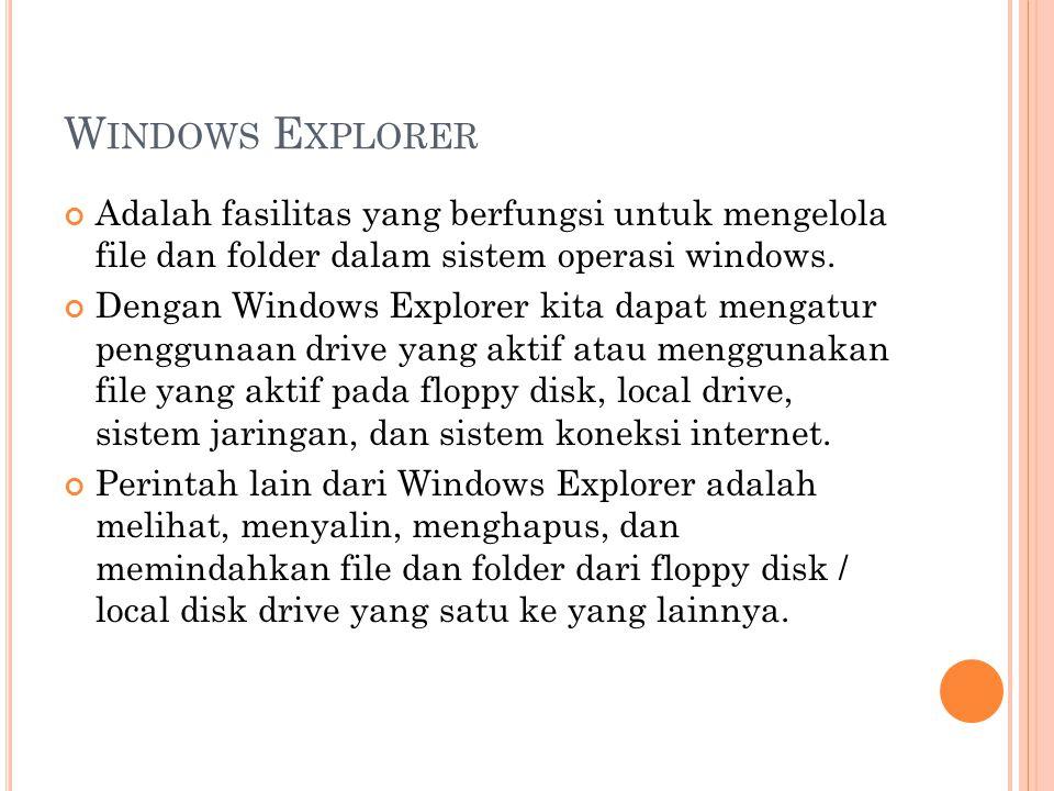 W INDOWS E XPLORER Adalah fasilitas yang berfungsi untuk mengelola file dan folder dalam sistem operasi windows. Dengan Windows Explorer kita dapat me