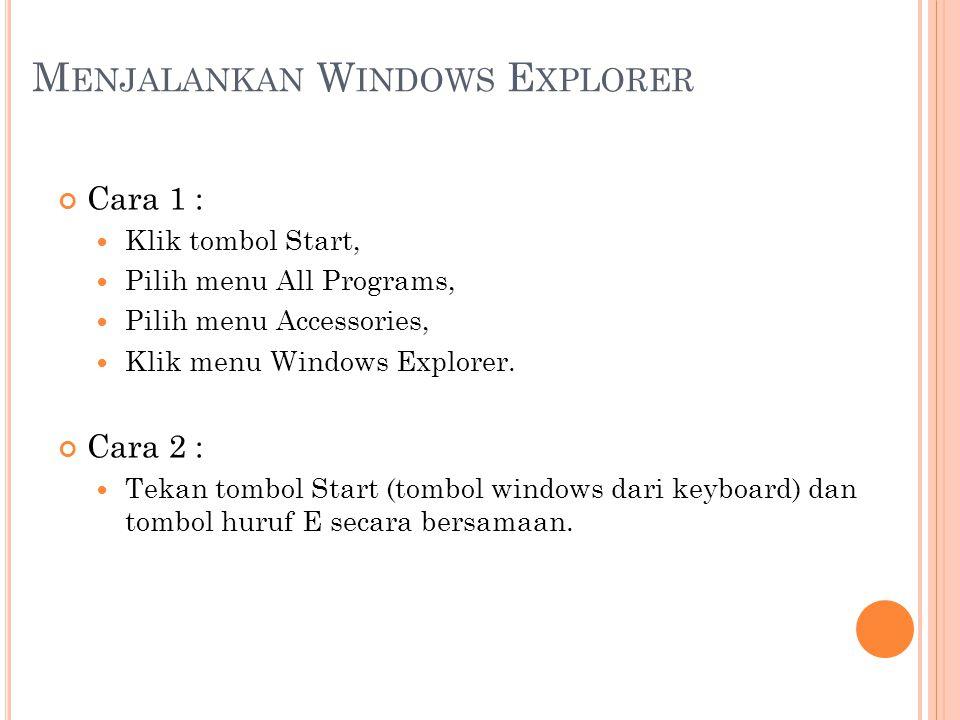 M ENJALANKAN W INDOWS E XPLORER Cara 1 :  Klik tombol Start,  Pilih menu All Programs,  Pilih menu Accessories,  Klik menu Windows Explorer. Cara