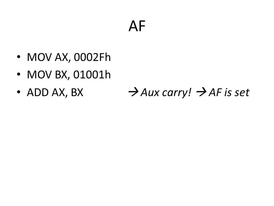 AF • MOV AX, 0002Fh • MOV BX, 01001h • ADD AX, BX  Aux carry!  AF is set