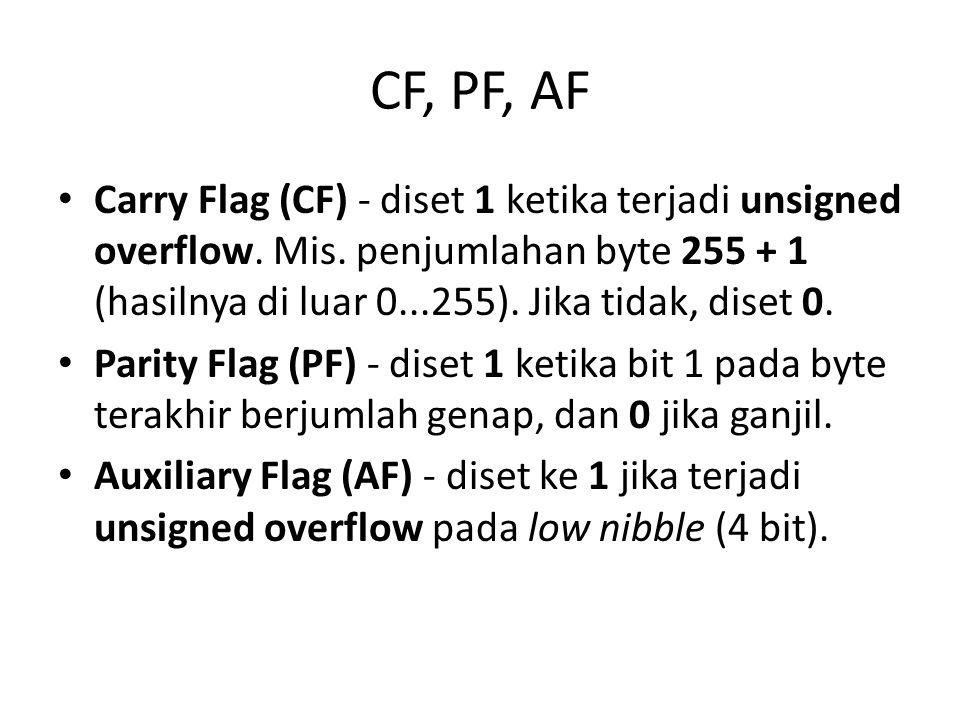 CF, PF, AF • Carry Flag (CF) - diset 1 ketika terjadi unsigned overflow.