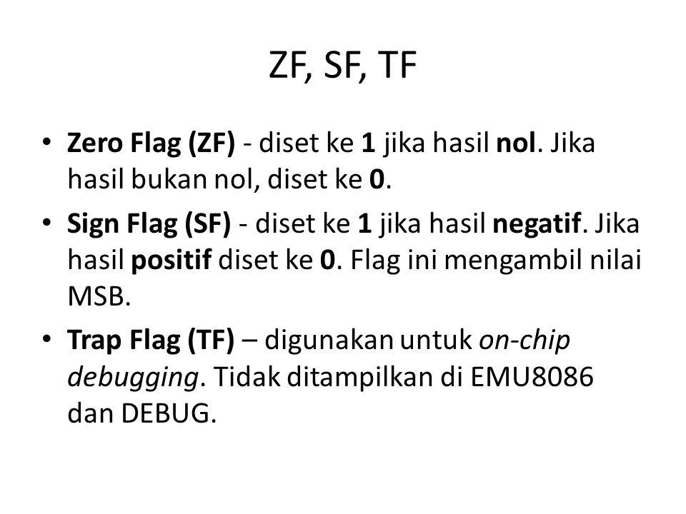 ZF, SF, TF • Zero Flag (ZF) - diset ke 1 jika hasil nol.