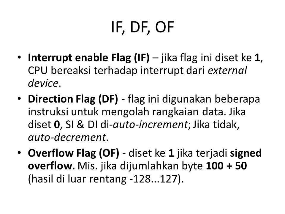 IF, DF, OF • Interrupt enable Flag (IF) – jika flag ini diset ke 1, CPU bereaksi terhadap interrupt dari external device.