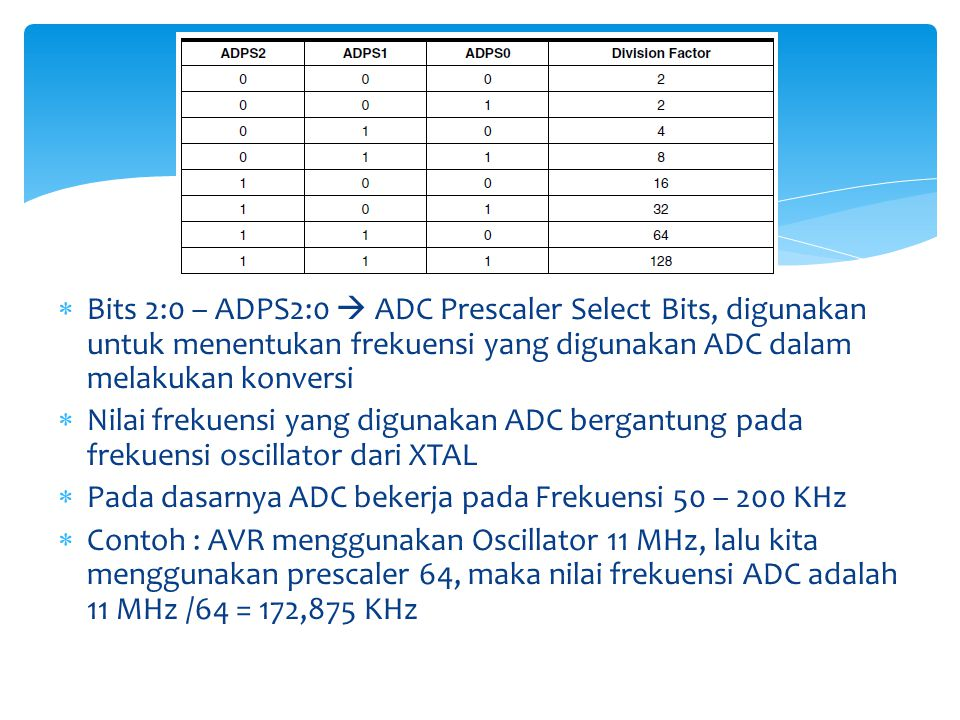  Bits 2:0 – ADPS2:0  ADC Prescaler Select Bits, digunakan untuk menentukan frekuensi yang digunakan ADC dalam melakukan konversi  Nilai frekuensi y