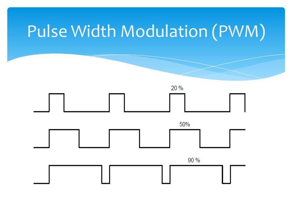 PWM  Teknik mendapatkan efek sinyal analog dari sebuah sinyal digital yang terputus-puts  PWM dibangkitkan hanya dengan menggunakan digital I/O ya