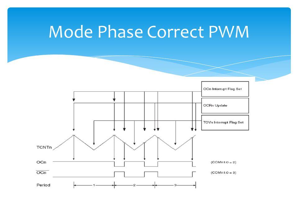  PWM yang membangkitkan gelombang dengan resolusi tinggi phase corret  Pada mode ini menggunakan operasi dual slope  Frekeunsi yang dihasil akan le