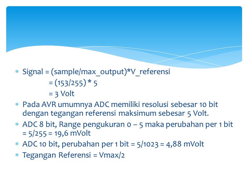  Signal = (sample/max_output)*V_referensi = (153/255) * 5 = 3 Volt  Pada AVR umumnya ADC memiliki resolusi sebesar 10 bit dengan tegangan referensi