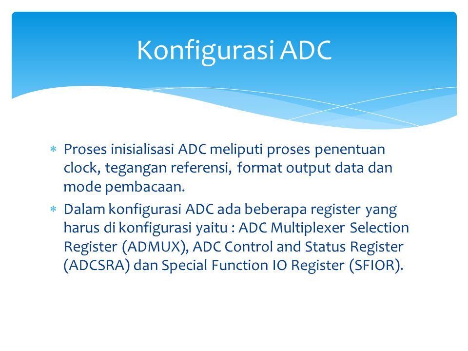  ADC Multiplexer Selection Register (ADMUX)  Bit 7:6 REFS1:0  Reference Selection Bits  Bit 5  ADLAR : ADC Left Adjust Result Konfigurasi Register ADC