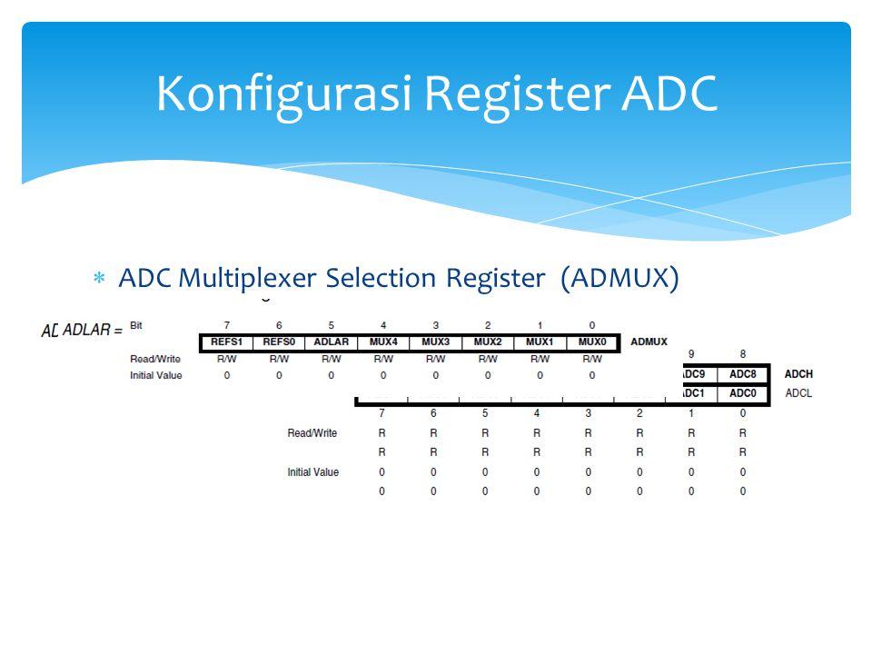  ADC Multiplexer Selection Register (ADMUX)  Bit 7:6 REFS1:0  Reference Selection Bits  Bit 5  ADLAR : ADC Left Adjust Result Konfigurasi Registe