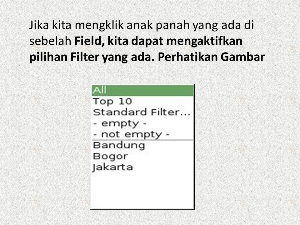 Jika kita mengklik anak panah yang ada di sebelah Field, kita dapat mengaktifkan pilihan Filter yang ada. Perhatikan Gambar