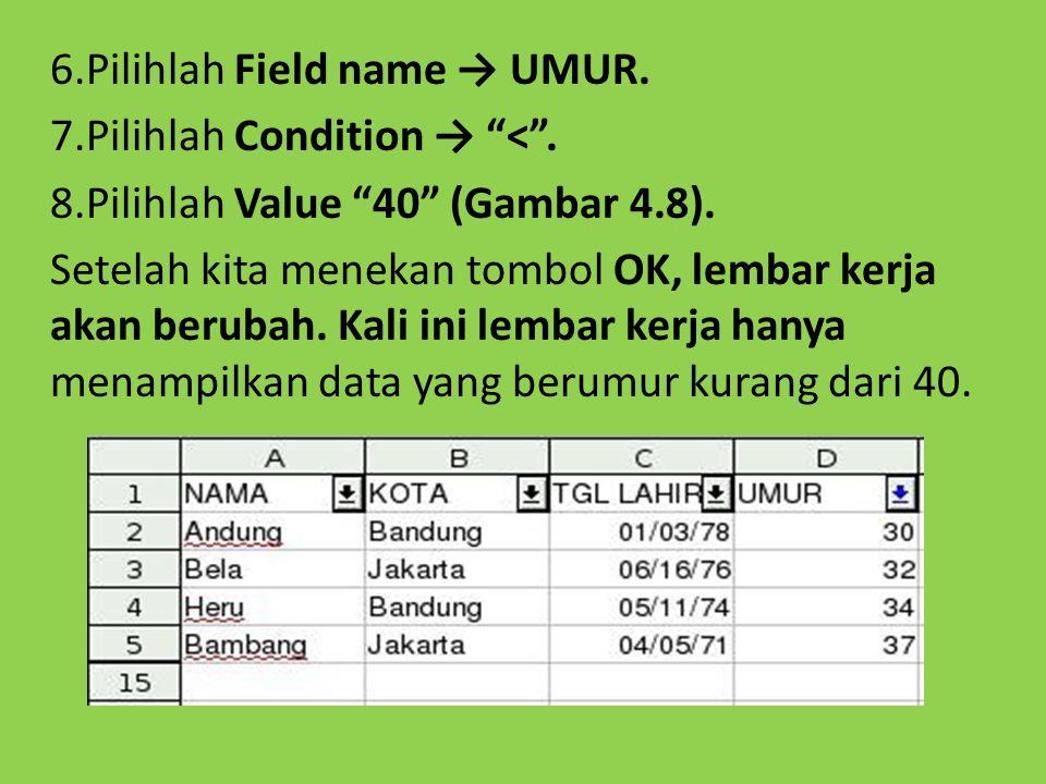 """6.Pilihlah Field name → UMUR. 7.Pilihlah Condition → """"<"""". 8.Pilihlah Value """"40"""" (Gambar 4.8). Setelah kita menekan tombol OK, lembar kerja akan beruba"""