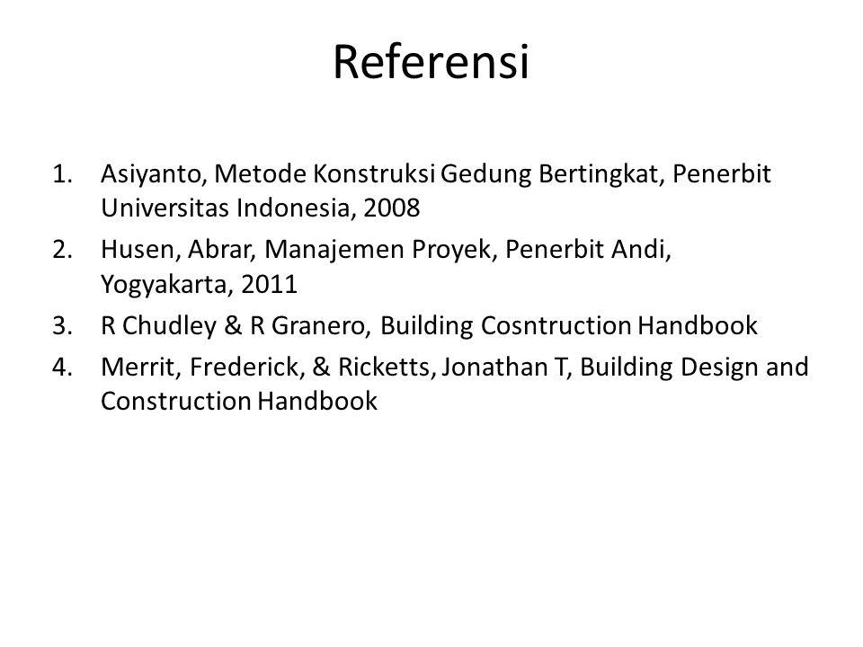 Referensi 1.Asiyanto, Metode Konstruksi Gedung Bertingkat, Penerbit Universitas Indonesia, 2008 2.Husen, Abrar, Manajemen Proyek, Penerbit Andi, Yogya
