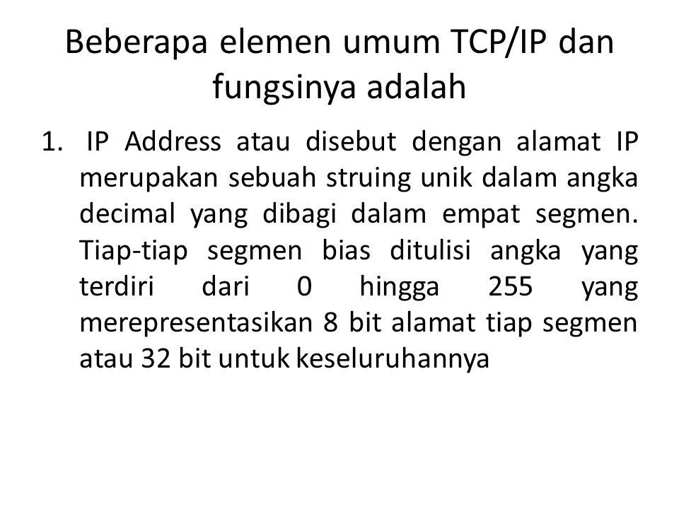 Beberapa elemen umum TCP/IP dan fungsinya adalah 1.