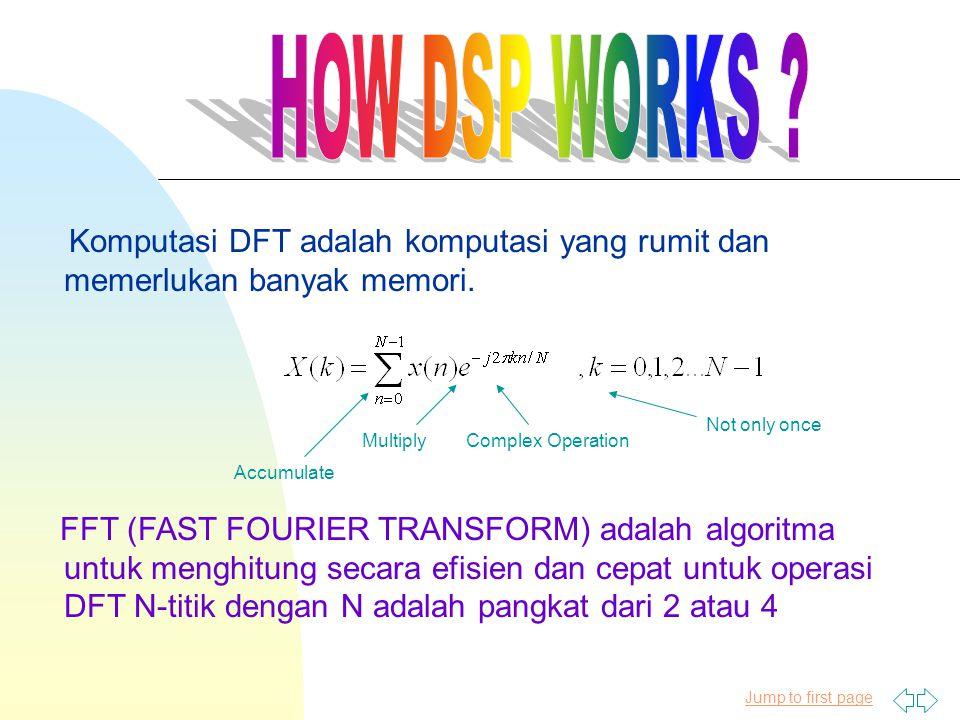 Jump to first page Komputasi DFT adalah komputasi yang rumit dan memerlukan banyak memori. FFT (FAST FOURIER TRANSFORM) adalah algoritma untuk menghit
