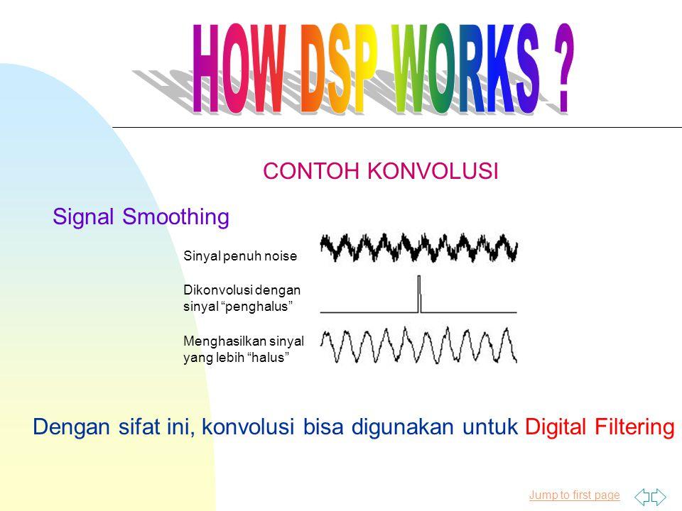Jump to first page Signal Smoothing Sinyal penuh noise Dikonvolusi dengan sinyal penghalus Menghasilkan sinyal yang lebih halus CONTOH KONVOLUSI Dengan sifat ini, konvolusi bisa digunakan untuk Digital Filtering