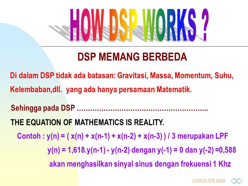 Jump to first page DSP MEMANG BERBEDA Di dalam DSP tidak ada batasan: Gravitasi, Massa, Momentum, Suhu, Kelembaban,dll. yang ada hanya persamaan Matem