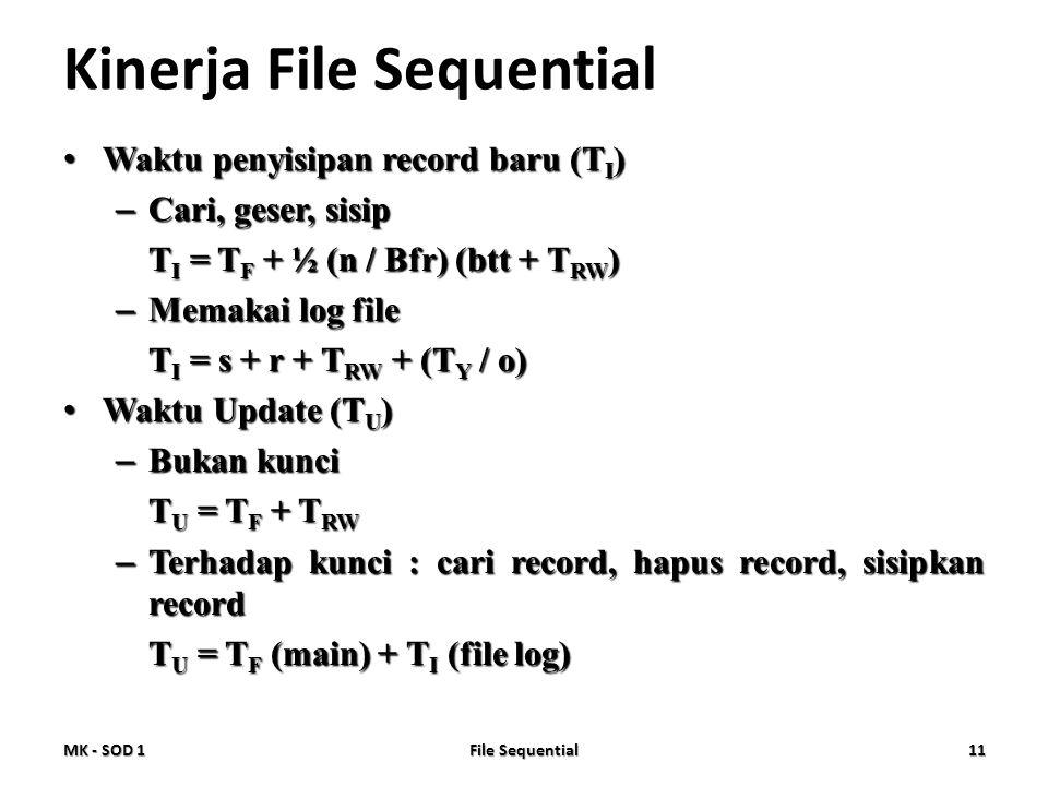 Kinerja File Sequential • Waktu penyisipan record baru (T I ) – Cari, geser, sisip T I = T F + ½ (n / Bfr) (btt + T RW ) – Memakai log file T I = s +