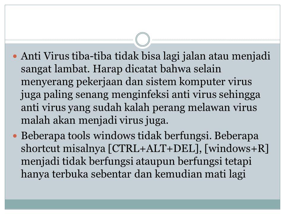  Anti Virus tiba-tiba tidak bisa lagi jalan atau menjadi sangat lambat.