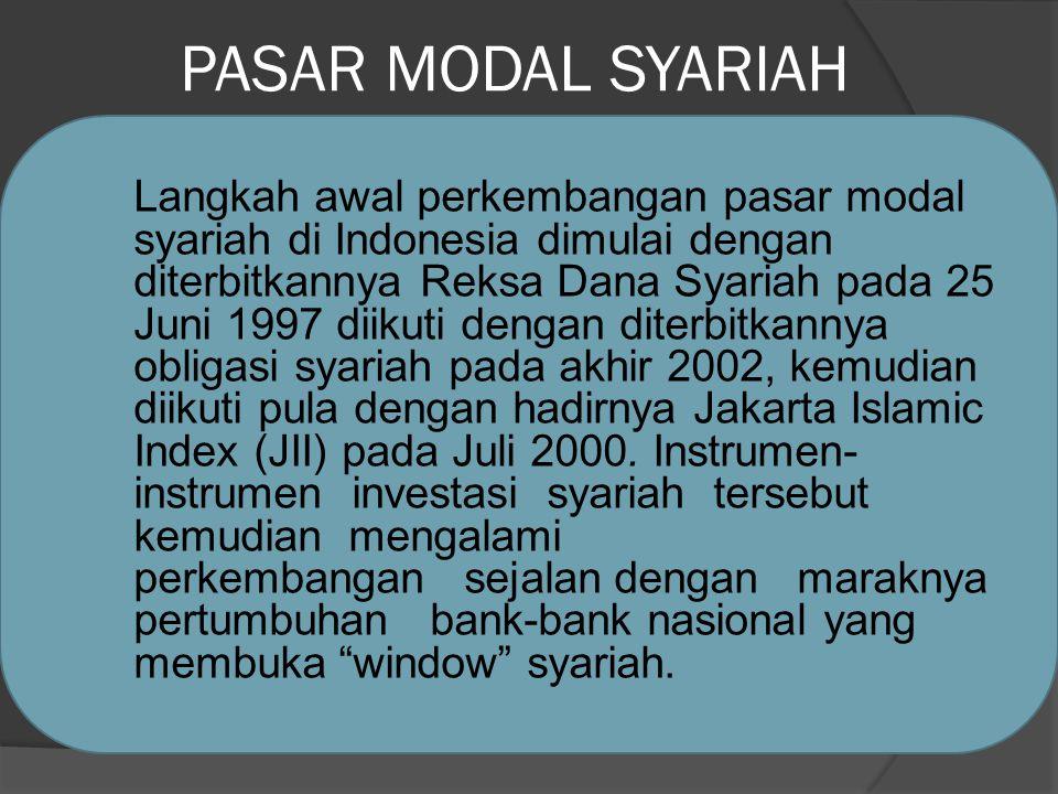 PASAR MODAL SYARIAH Langkah awal perkembangan pasar modal syariah di Indonesia dimulai dengan diterbitkannya Reksa Dana Syariah pada 25 Juni 1997 diikuti dengan diterbitkannya obligasi syariah pada akhir 2002, kemudian diikuti pula dengan hadirnya Jakarta Islamic Index (JII) pada Juli 2000.