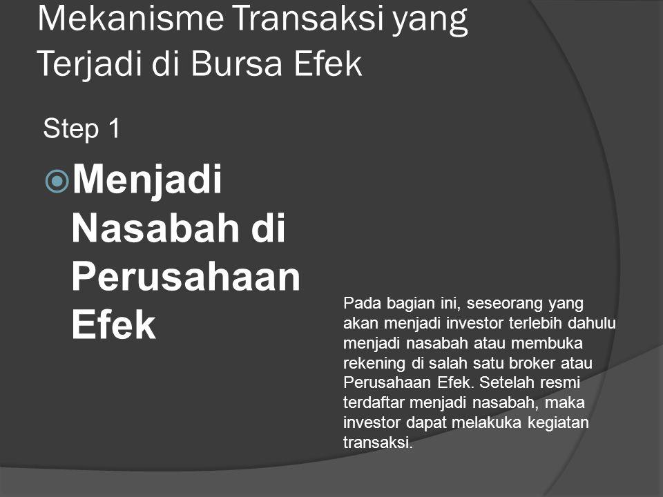 Mekanisme Transaksi yang Terjadi di Bursa Efek Step 1  Menjadi Nasabah di Perusahaan Efek Pada bagian ini, seseorang yang akan menjadi investor terlebih dahulu menjadi nasabah atau membuka rekening di salah satu broker atau Perusahaan Efek.