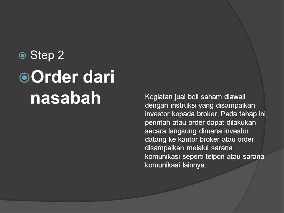  Step 2  Order dari nasabah Kegiatan jual beli saham diawali dengan instruksi yang disampaikan investor kepada broker.