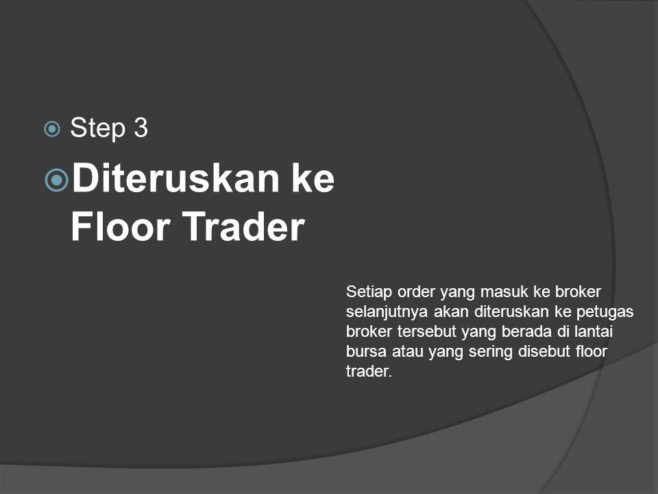  Step 3  Diteruskan ke Floor Trader Setiap order yang masuk ke broker selanjutnya akan diteruskan ke petugas broker tersebut yang berada di lantai bursa atau yang sering disebut floor trader.