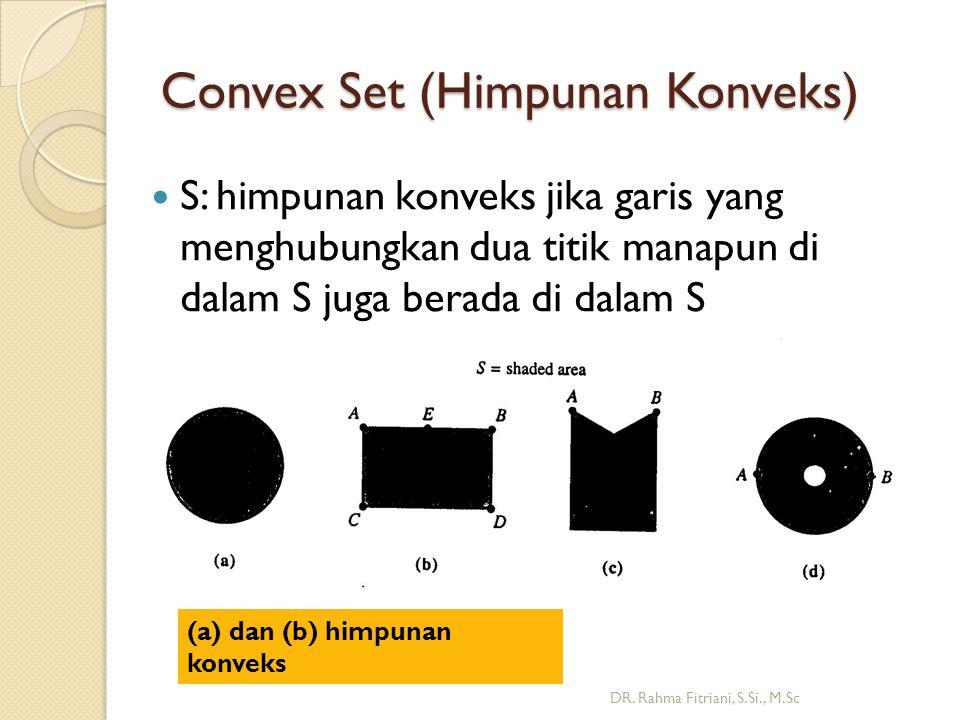 Convex Set (Himpunan Konveks)  S: himpunan konveks jika garis yang menghubungkan dua titik manapun di dalam S juga berada di dalam S DR.