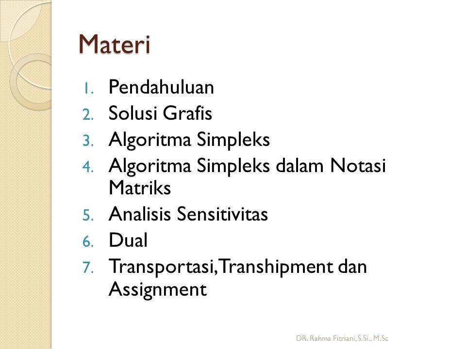 Solusi Grafis untuk LP 2 Peubah DR. Rahma Fitriani, S.Si., M.Sc Daerah feasibel: H-E- F-G-D