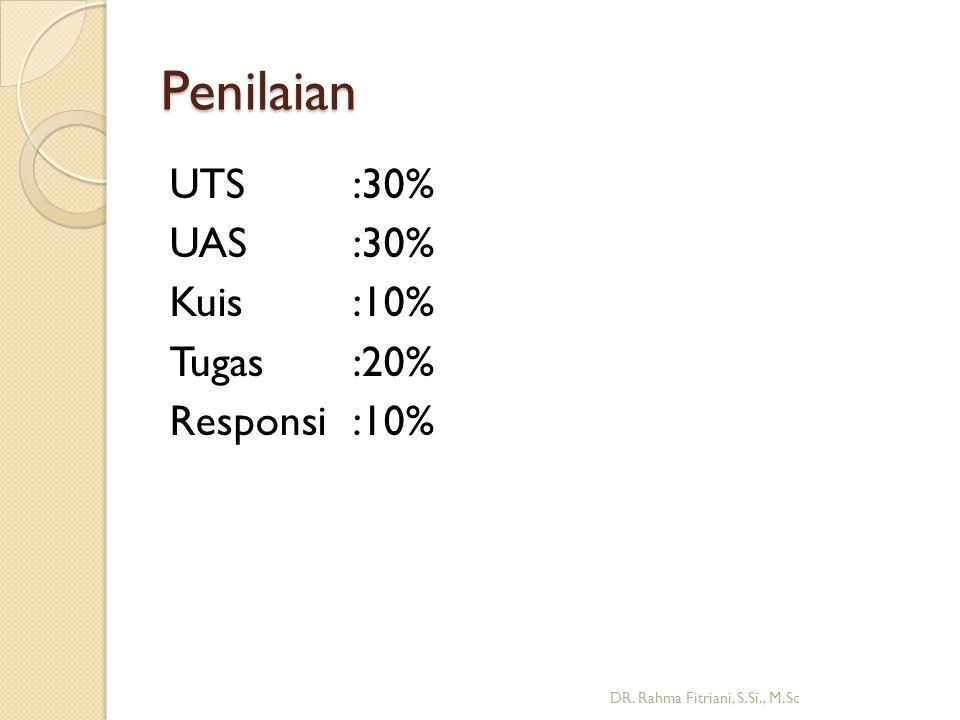 Penilaian UTS:30% UAS:30% Kuis:10% Tugas:20% Responsi:10% DR. Rahma Fitriani, S.Si., M.Sc